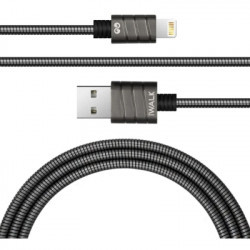 iWalk Stainles Steel Spring Wire lightning 2.4A cable Grey